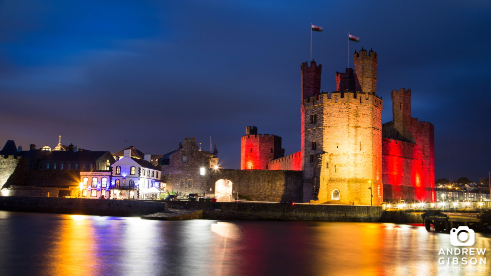 Caernarfon Castle by night