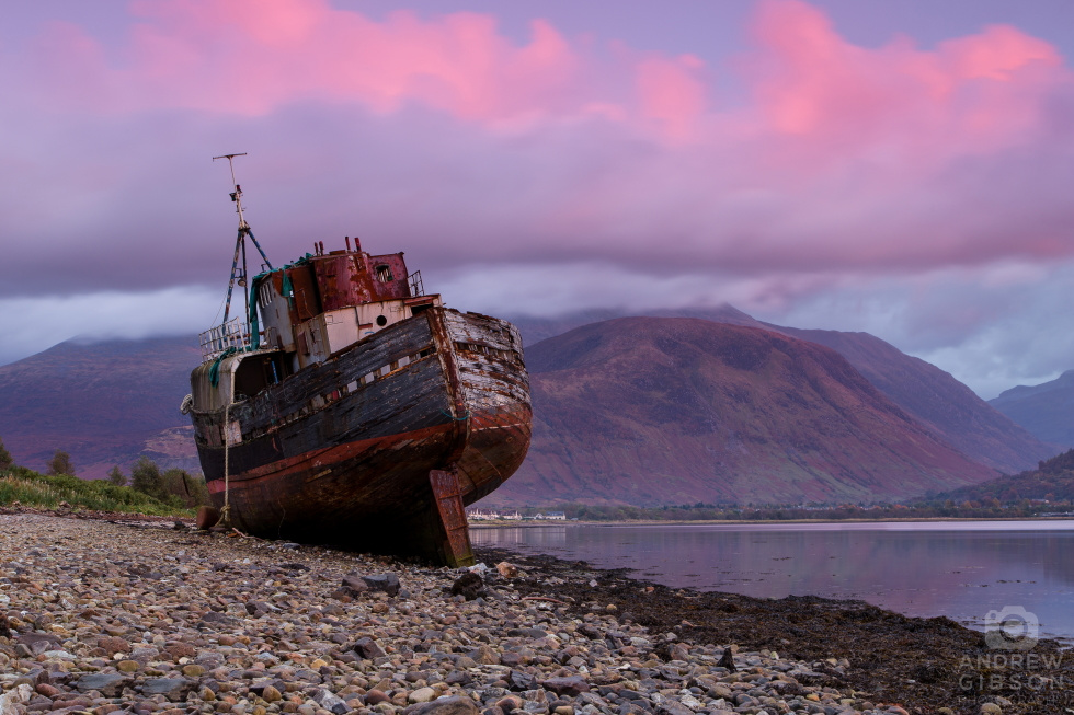 Corpach shipwreck in the afterglow