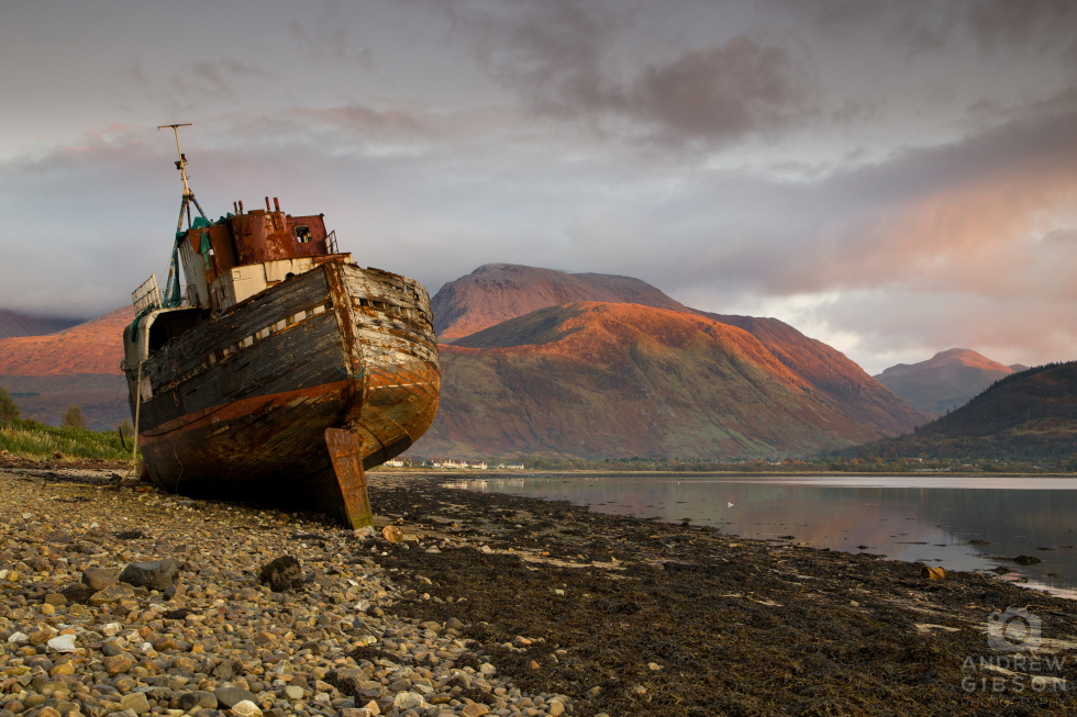 Corpach shipwreck in the evening glow