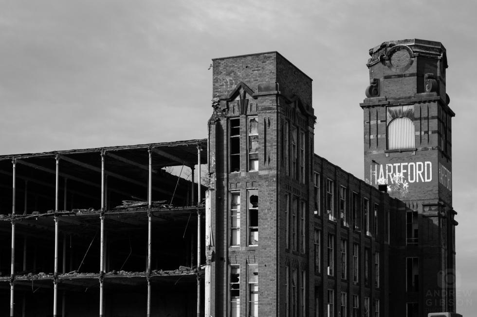 Hartford Mill demolition - tower detail